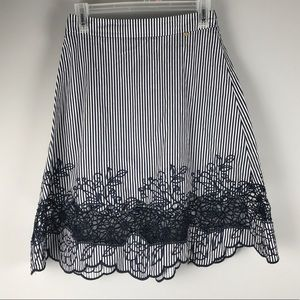 Harlyn navy striped embroidered a line skirt S
